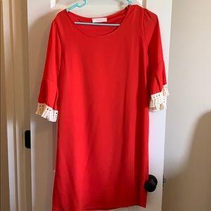 Red bell sleeve dress